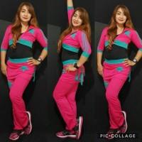 Set Baju Senam Aerobik Zumba Panjang Olahraga Sedada Rok Pink Toska