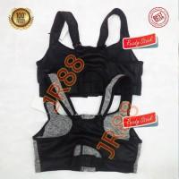 New Sport Bra Resleting Zipper/Sport Bra Resleting Depan (Hitam/Abu)