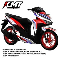Decal sticker stiker aksesoris body motor honda vario 150/125 new red