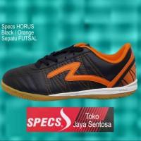 Terlaris Sepatu Futsal SPECS HORUS Black/Orange Keren