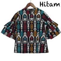 Blouse Batik Songket Wanita Lengan Terompet Susun Bahan Katun Strecth