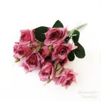 AF30 BUNGA MAWAR ARTIFICIAL DEKORASI RUMAH PELAMINAN BACKDROP - Dusty Pink