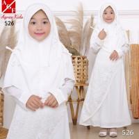 AGNES Baju Muslim Anak Gamis Putih Anak Baju Syari Putih Anak 526