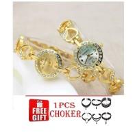 Jam Tangan Gelang Wanita Korean fashion HEART HATI + CHOKER bracel