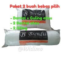 PROMO Paket isi 2 Bantal & Guling Brendis Silikon 100% / Bantal Hotel