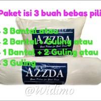 PROMO Paket isi 3 - Bantal & Guling Silicon Asli Azzda /Bantal Dakron