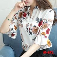 Blus Model Lengan Pendek Motif Bunga Ada Ukuran Besar untuk Wanita Mus