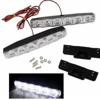 lampu LED drl bemper grill mobil 6 titik putih