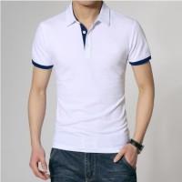 kaos berkerah Polo Shirt White Stripe Blue