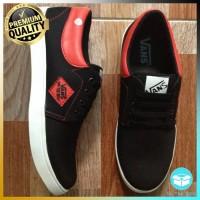 Sepatu Pria Casual Vans Clasic Denim Black Red Special Edition VD4 Sne