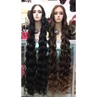 wig rambut palsu wanita fiber FB1845 LONG CURLY - Hitam