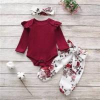 setelan jumper bayi perempuan merah maroon clana bunga cantik
