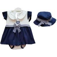 baju anak bayi perempuan 0 1 2 3 4 5 6 7 8 9 bulan dress navy dres