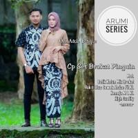 Cp set brokat pinguin couple batik arumi series