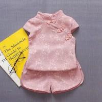 baju bayi setelan imlek cheongsam putih & pink for baby girl