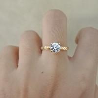 Cincin SOLITAIRE emas asli kadar 700 70% 22 surabaya permata berlian