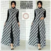 baju cardigan batik - long cardi batik monokrom
