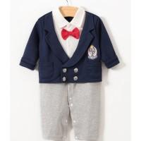 Baju Anak Bayi Laki Impor Romper Kaos Panjang Jas Navy Dasi Merah