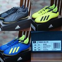 ORIGINAL Adidas Tango 18.4 Sepatu Pria Bola Futsal Hitam Biru Kuning