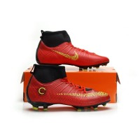 Sepatu Bola Nike Mercurial C High Merah Kuning Soccer Import