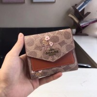 Coach Small Wallet With Floral Bow Print in Signature Canvas