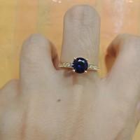 Cincin emas asli kadar 700 70% 22 2 gr gram gold solitaire biru putih
