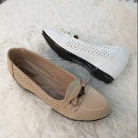 Sepatu wanita import balnani 939-6 apricot dan white