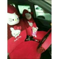 Sarung cover jok bantal mobil 18 in 1 hello kitty 2 baris jok agya ayl