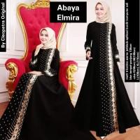 Baju Dress Abaya Muslim Gamis Arab Hitam Bordir Elmira by Noer Abaya