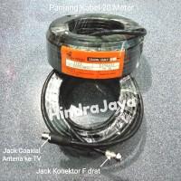 Kabel Antena + Jack Coaxial Male & Jack Konektor F drat Panjang 20M