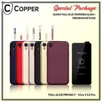 Vivo V11 Pro - Paket Bundling Tempered Glass Privacy Dan Softcase