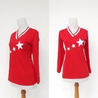 baju senam panjang motif bintang - Merah, M