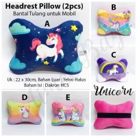 Headrest / Head Rest Pillow - Bantal Leher Mobil motif Unicorn uk. L