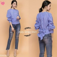 blouse baju atasan wanita bluss korea jepang unik vintage garis salur
