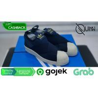 SALE Sepatu Adidas Superstar Slip on Navy White Gold Original
