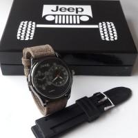 jam tangan pria jeep 1490b box set tali kain kanvas free tali rubber