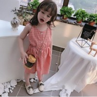 dress anak motif kotak lebar