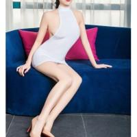 Lingerie Tight Bodycon Mini Dress Baju Dugem Clubwear Sexy White 2203