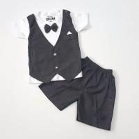 Baju anak Bayi laki 0 1 2 3 4 5 6 bulan Setelan Jas Tuxedo Pesta hitam