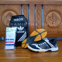 Paket Komplit Sepatu Sport Badminton Airquila Black Original Murah