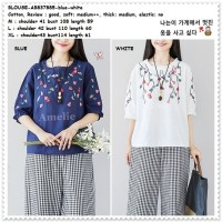 AB837885 Baju Atasan Boho Wanita Blouse Bordir Korea Import Putih Biru