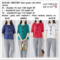 AB837887 Baju Atasan Boho Wanita Blouse Korea Import Merah Putih Hijau