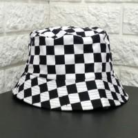 Bucket Hat Catur Motif Kotak BucketHat Topi Mancing Pantai Rimba