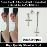 Anting Tindik Cowok Pria - Silver Stud Salib + Chain Salib