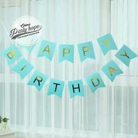 Banner happy birthday / bunting flag ulang tahun Biru tulisan gold hbd