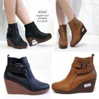sepatu wedges ankleboot hitam coklat premium - sepatu ankle boot fashi