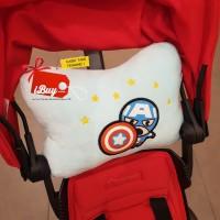 Miniso Captain America Cute Pillow Bantal Headrest Mobil Small Blue