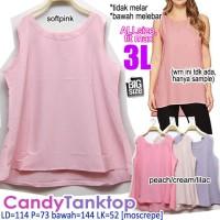 Candy Tanktop WANITA ATASAN TANPA LENGAN POLOS BASIC BIG SIZE XXXL 3L