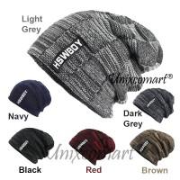 HSWBOY Topi Kupluk Beanie Dewasa Knitted Hat Bahan Rajut Tebal Bulu