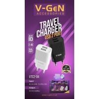 Vgen Original Travel Charger USB 2 Port 2.4Ampere (Dual Port)